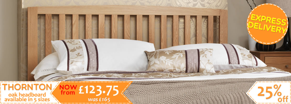 Thornton Oak Headboard in 5 Sizes - 30% off