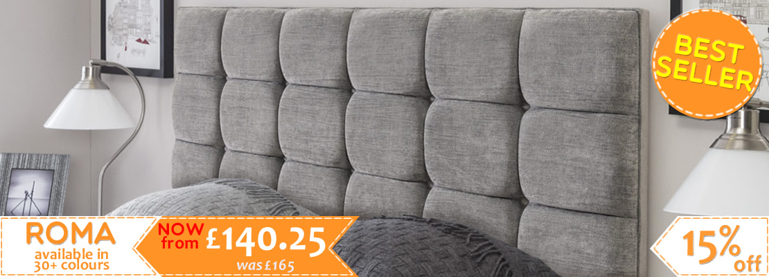 Roma Upholstered Headboard in 5 sizes and more than 30 fabric options