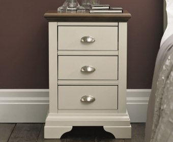 Hampstead Soft Grey and Walnut 3 Drawer Bedside Chest