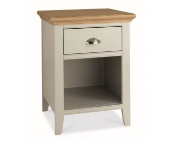 Hampstead Soft Grey and Oak 1 Drawer Nightstand