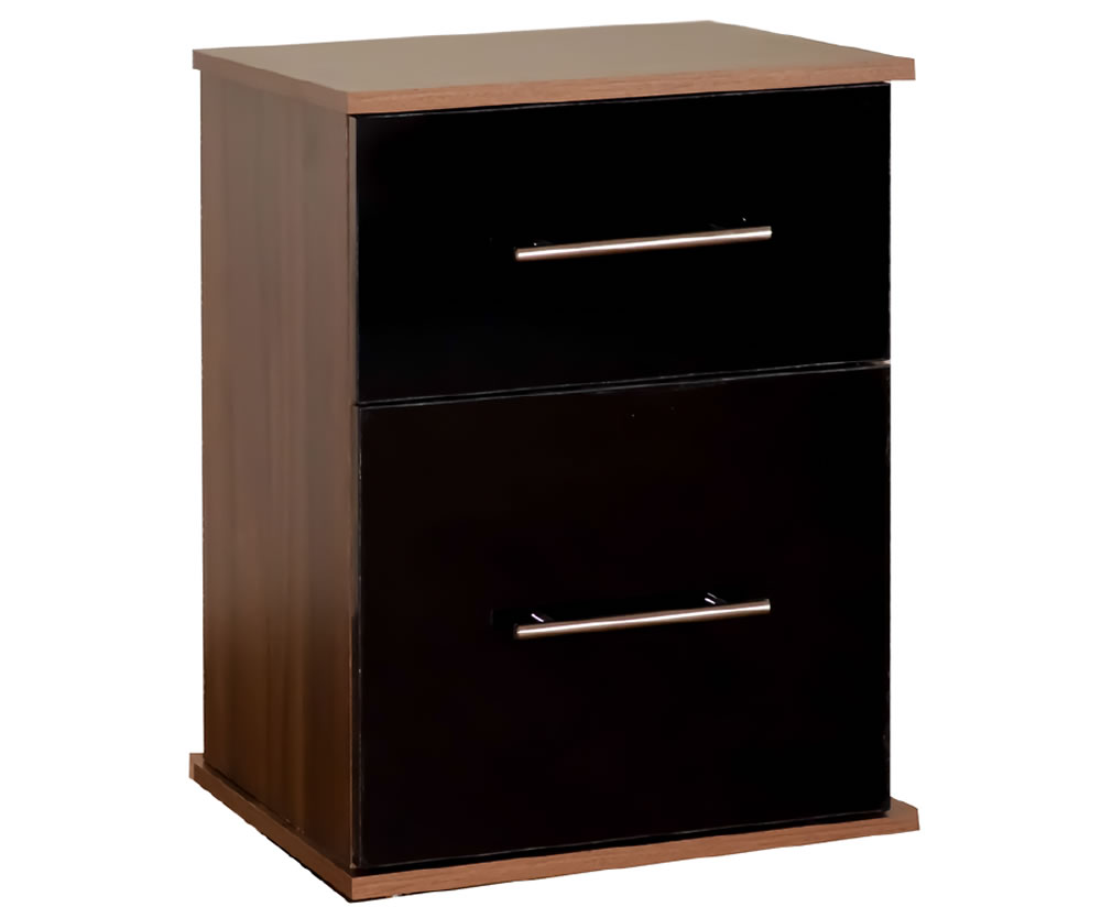 justheadboards.co.uk Watson High Gloss Bedside Cabinet base unit - walnut drawer fronts - black high gloss