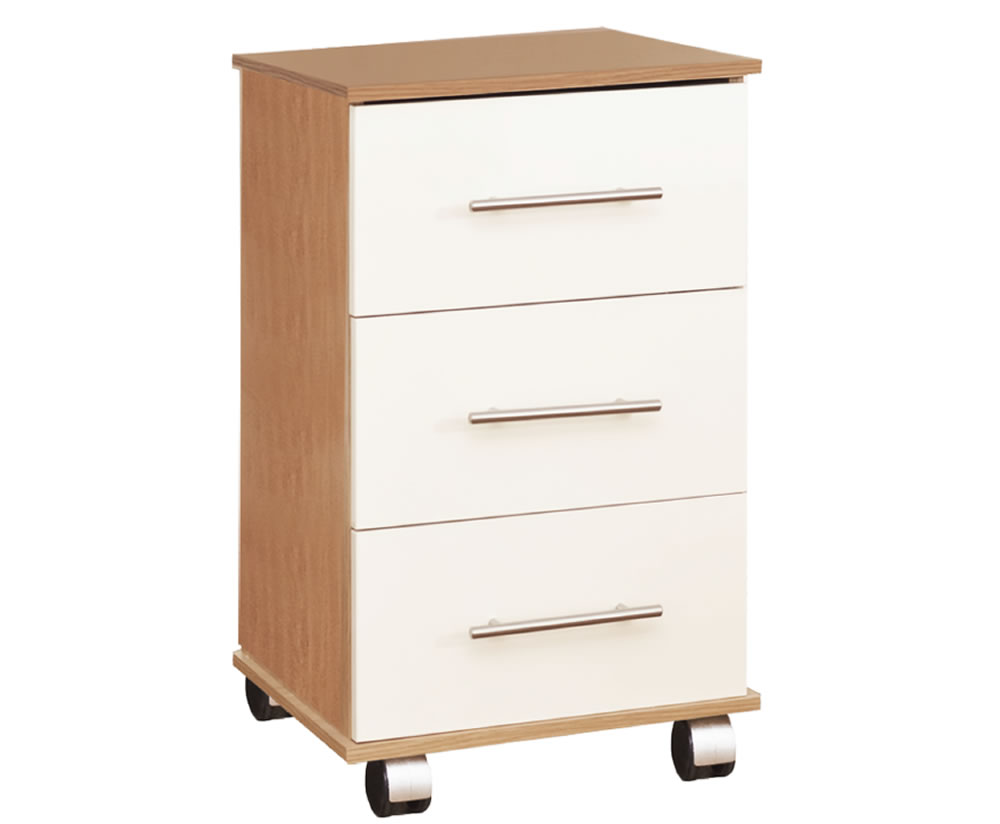 justheadboards.co.uk Watson High Gloss Bedside Chest base unit - oak drawer fronts - cream high gloss