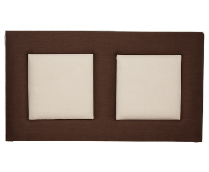 justheadboards.co.uk Acara 4ft 6 Chocolate and Natural Upholstered Headboard *Special Offer* double size - 4ft 6 turin base - chocolate panels - natural