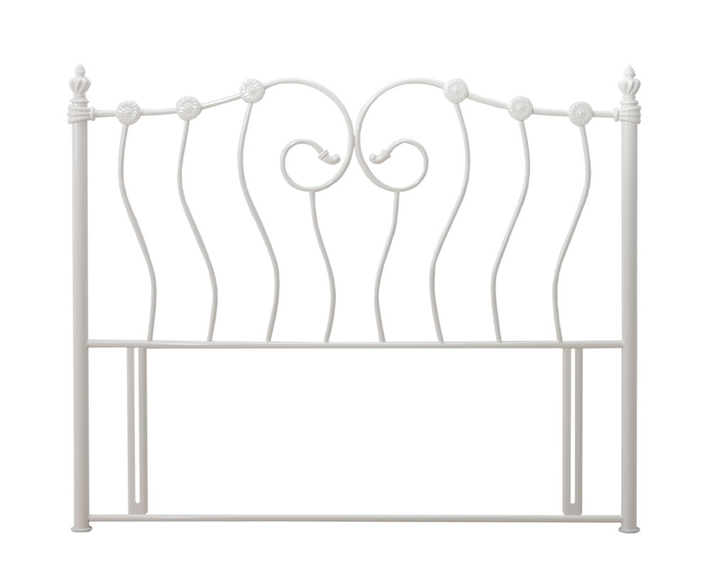 justheadboards.co.uk Paisley Ivory Metal Headboard single size - 3ft