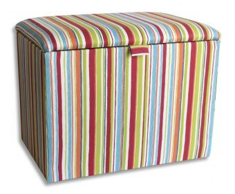 Striped Childrens Upholstered Ottoman