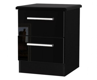 Knight Black High Gloss 2 Drawer Bedside Chest