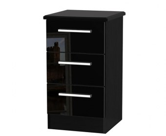 Knight Black High Gloss 3 Drawer Bedside Chest