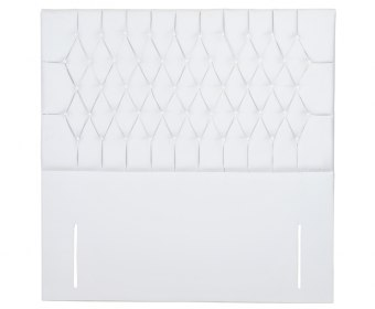 Princessa White Faux Leather Buttoned Headboard