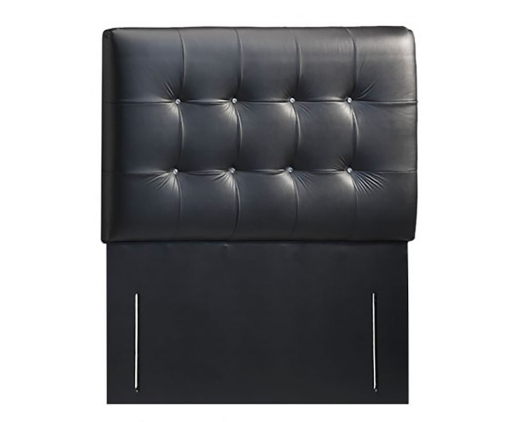 Headboards Bianca Faux Leather and Suede Headboard small single size - 2ft 6 faux leather black