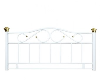 Lisa White and Gold Metal Headboard