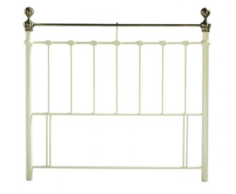 York Cream And Brass Metal Headboard