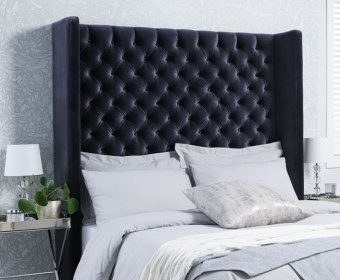 Adele Upholstered Winged Floor Standing Headboard