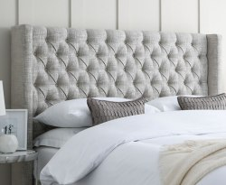 Olivia Upholstered Winged Floor Standing Headboard