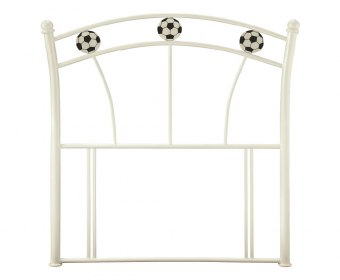 Soccer White Childrens Metal Headboard