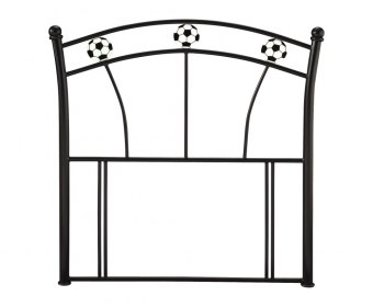 Soccer Black Childrens Metal Headboard