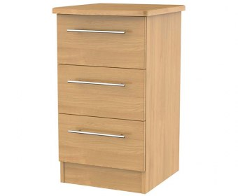 New Sherwood Modern Oak 3 Drawer Bedside Chest