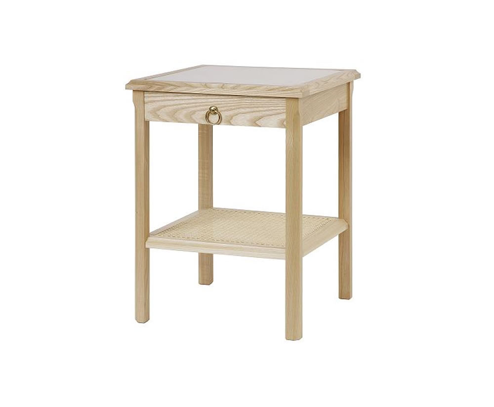 justheadboards.co.uk Fairlight Bedside Table natural ash finish antique brass ring